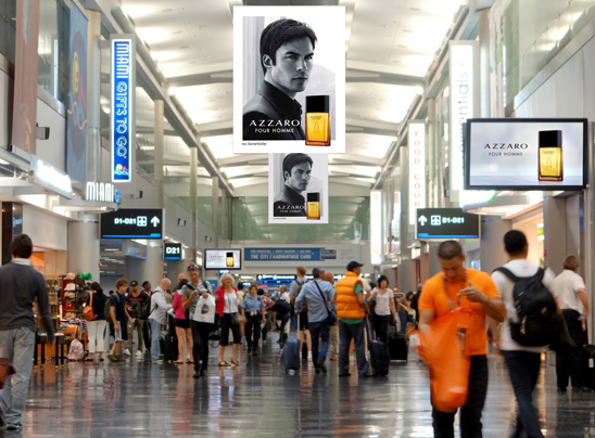 Passengers at Miami International Airport were surrounded by banners and visuals for the Azzaro Pour Homme fragrance last summer, leading to a huge increase in sales at the duty free store.