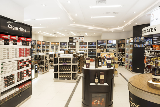 Attenza offers an extensive selection of top name liquors in the departure store at Ecuador's New Quito International Airport.