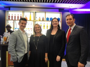 Celebrity Cruises' Lorenzo Davidoiu, Diageo's Sandra Vaucher and Louise Higgins, and Royal Caribbean's Kornel Toth at the World Class Global Travel Final in Miami on July 9.