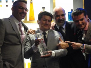 Global Travel World Class winner Santos Mercedes Enriquez with judges Julio Cabrera, Enrique de Colsa and Erik Lorincz.