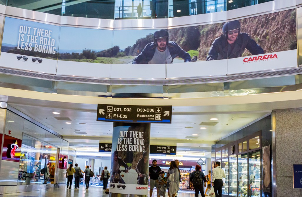 Safilo creates a special event for Carrera eyewear in Miami International Airport's South Terminal to generate excitement and drive travelers into the Duty Free Americas duty free store.