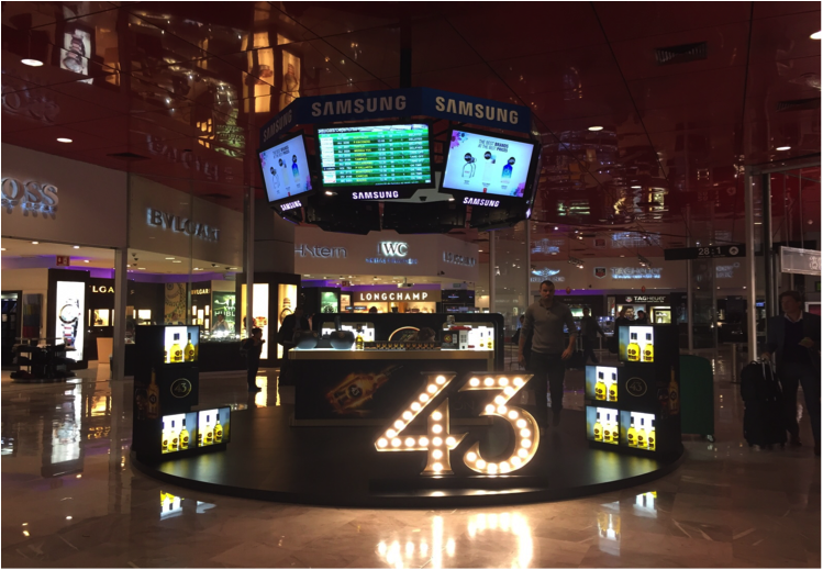 EWTRA featured Mexican favorite Licor 43 in the Rotunda at Mexico City Airport with Dufry in October.