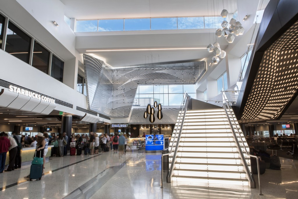 New common area and main staircase in LAX Terminal 2.