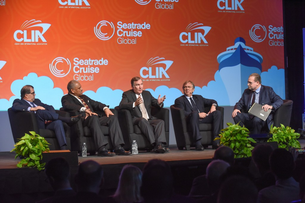 Frank Del Rio, President & CEO of Norwegian Cruise Line Holdings; Arnold Donald, President & CEO of Carnival Corporation; Richard Fain, Chairman & CEO of Royal Caribbean Cruises Ltd.; and Pierfrancesco Vago, Executive Chairman of MSC Cruises, and travel journalist Peter Greenberg at the opening of Seatrade  Cruise Global 2016.