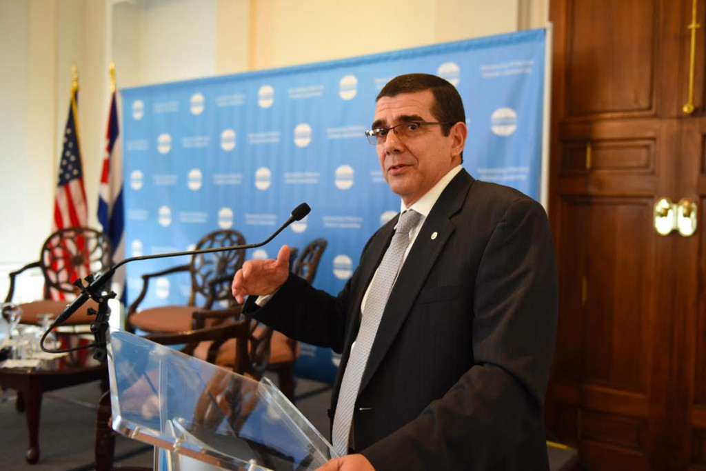 José Ramón Cabañas, Cuba's ambassador to the United States, speaks June 9 at the Meridian International Center's Cuba Cultural Diplomacy Forum in Washington DC. PHOTO BY JOYCE N. BOGHOSIAN/ MERIDIAN INTERNATIONAL CENTER