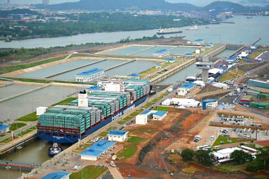 Chinese container ship Cosco Shipping making the inaugural crossing of the new Panama Canal extension, which opened to shipping on Sunday, June 26. Photo courtesy of the Panama Canal Authority.