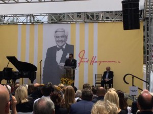 Fred Hayman's son Robert speaking at the Rodeo Drive tribute. Photo courtesy Ari Bussel.
