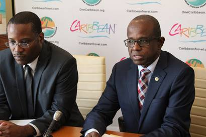 CTO's acting director of research Ryan Skeete (left) and secretary general Hugh Riley at today's news conference