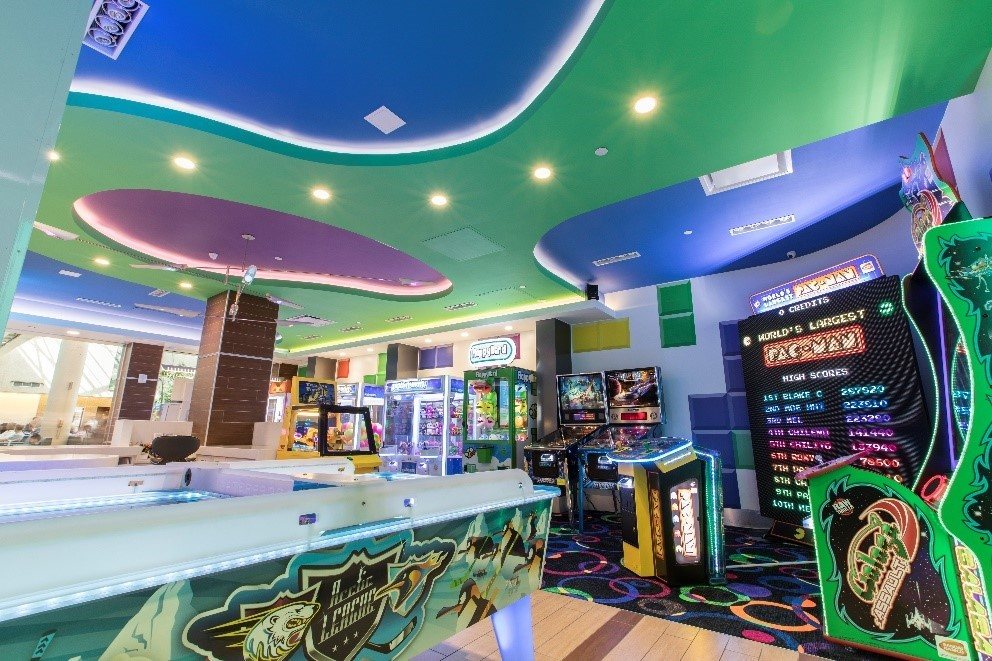 The Power Play Arcade is one of nine new retail concepts opened at Orlando International Airport by Westfield.