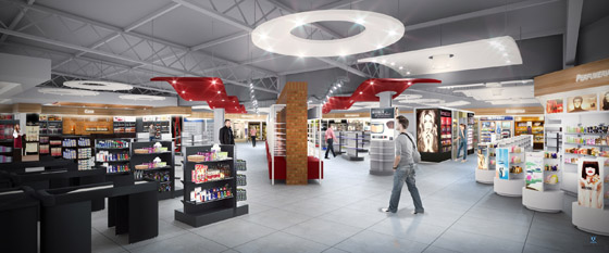 DFA's seven border stores in Uruguay carry a range of products from fragrances and cosmetics, as shown in the rendering of the new store in Bella Union, to luxury goods as shown in the Rivera store.