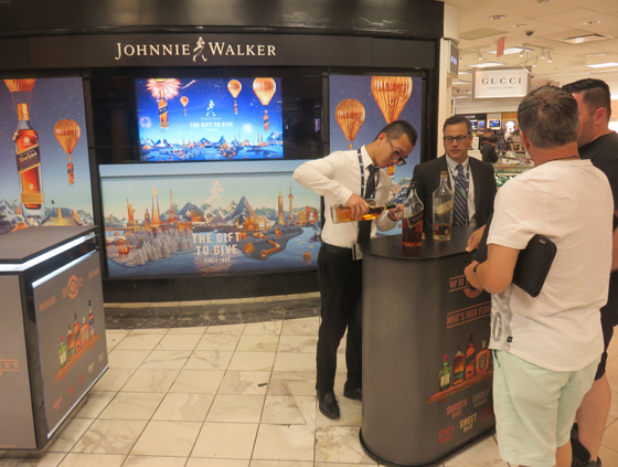 Space previously occupied by beauty brands across the corridor have been converted to Pop-Up areas, such as this tasting space for Johnnie Walker.