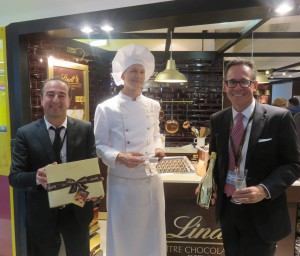 "Bottega owner and managing directer Sandro Bottega (left) and Peter Zehnder, head of the Lindt & Sprungli global duty free division (right) celebrate the launch of the ""Perfect Match"" collaboration."
