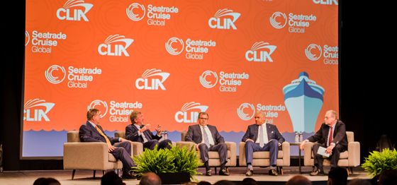 The keynote panel: Richard Fain, CEO of Royal Caribbean Cruises Ltd.; Pierfrancesco Vago, CEO of MSC Cruises; Frank Del Rio, CEO of Norwegian Cruise Line Holdings Ltd. and Arnold Donald, CEO of Carnival Corp. & plc.