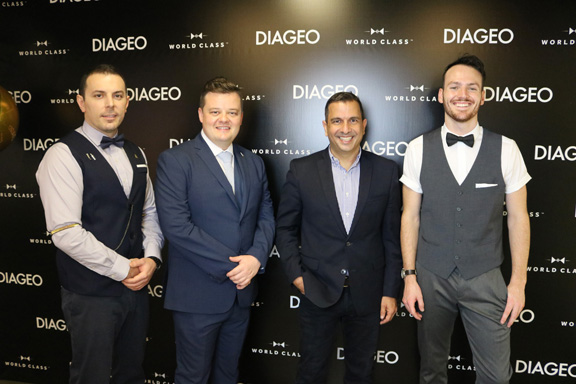 The three finalist cruise bartenders who competed in Miami on June 28 for the Diageo World Class title, with Diageo GT Commercial Director Marcos Bibas (third from left). The winners will battle it out against over 50 of the world's best bartenders on October 5-8 2018 in Berlin for the coveted 'Diageo World Class Bartender of the Year' title.