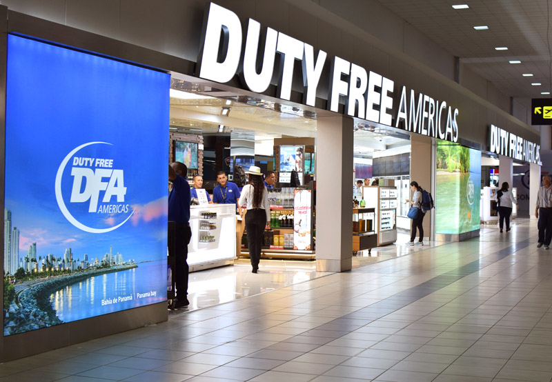 Duty Free Americas' two main duty free stores at Tocumen Terminal 1 dominate the area directly opposite Security.